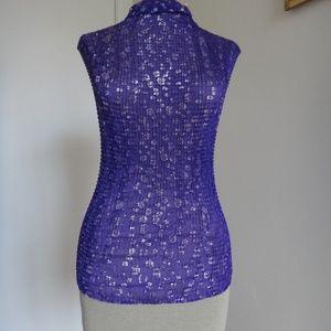 Tops - Tank Top Shell Sleeveless Chiffon Pleated Fabric